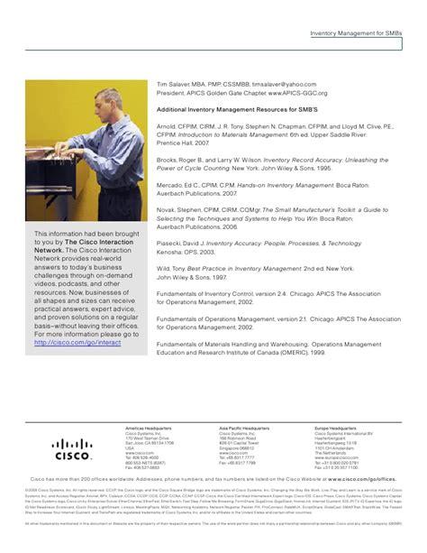 Cisco Mba Leadership Development Program by Cisco Salaver Inventory Management Smb
