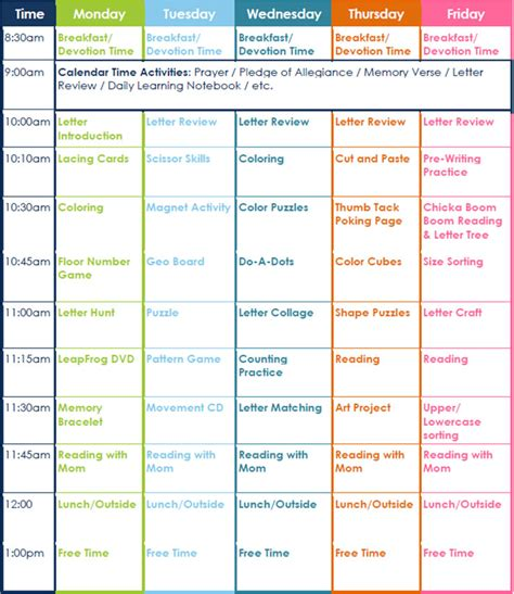 lesson plan schedule template preschool lesson template free word excel pdf format