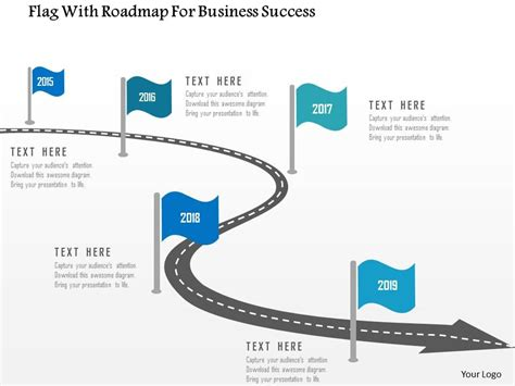 Flag With Roadmap For Business Success Flat Powerpoint How To Draw Roadmap In Powerpoint