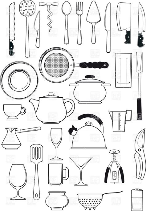 coloring pages of kitchen things tableware kitchen utensils silhouettes download royalty