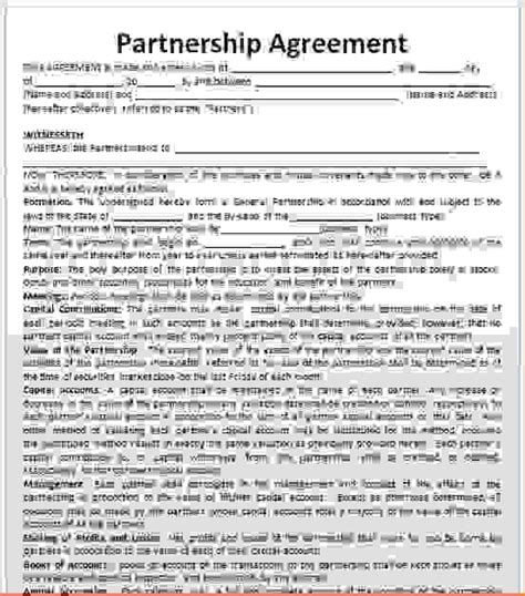 sle business partnership agreement partnership agreement template word 28 images sle