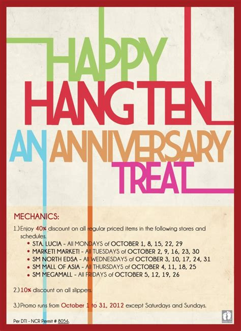 Sale Hang Ten by Hang Ten Anniversary Sale October 2012 Manila On Sale
