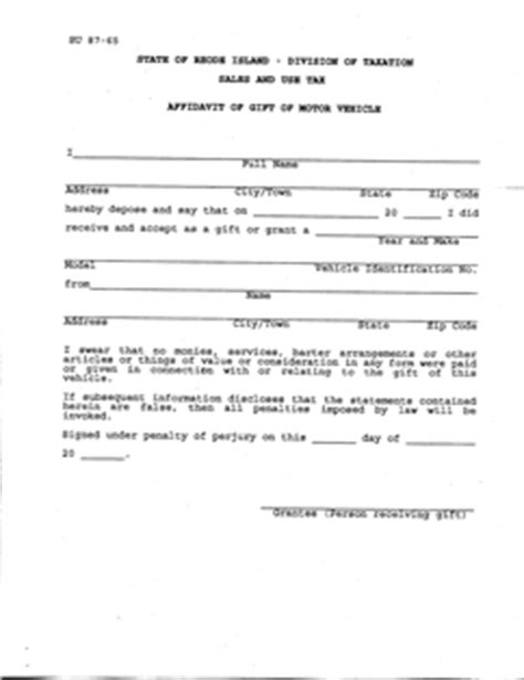 form affidavit gift of mv fillable affidavit of gift of motor vehicle