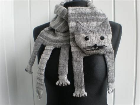 hand knitted grey cat scarf grey color puns  grey cats