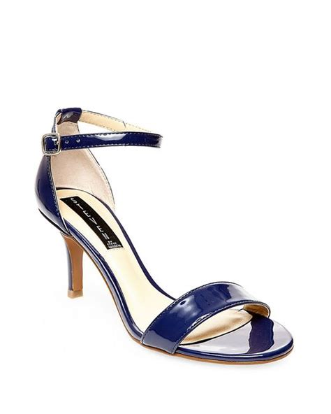 steven by steve madden vienna leather open toe strappy sandals in blue navy blue lyst