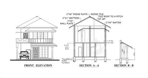 house plan section and elevation plan elevation section modern house