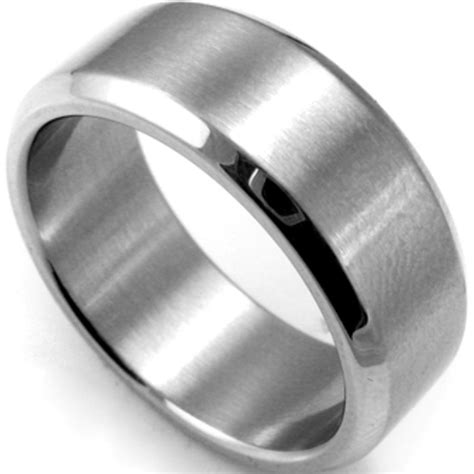 Steel Ring 8mm plain stainless steel ring band size 7 15 silver