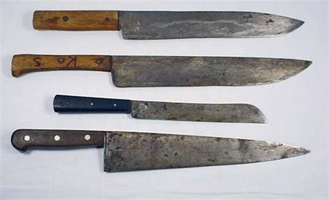 lot of 4 vintage large kitchen knives incl henc