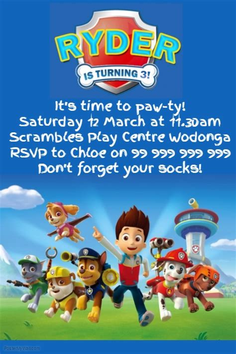 Paw Patrol Party Invitation Template Postermywall Paw Patrol Birthday Invitation Template