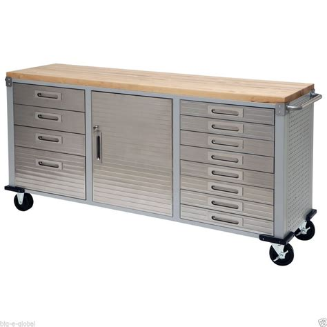 garage workbench and cabinets garage rolling steel tool box storage wooden