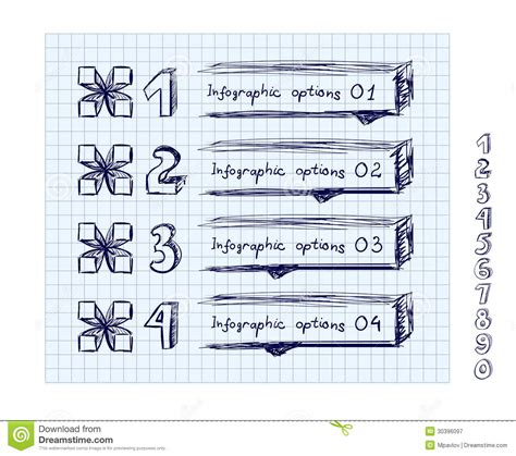 doodle free text option doodle style number options banner royalty free stock