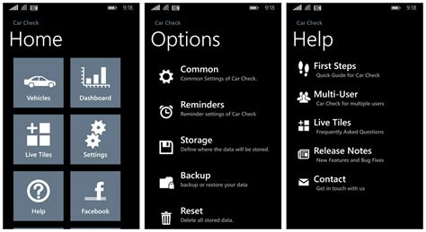 Layout App Help | car check a windows phone app for monitoring your