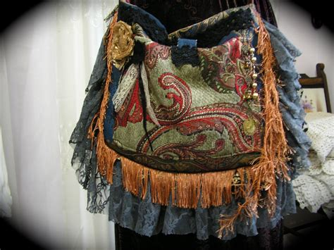 Handmade Fabric - bohemian bag purse handmade fabric bag velvet bag