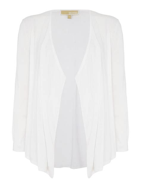 white drape cardigan michael kors drape front shrug cardigan in white lyst