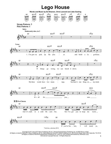 lego house tutorial guitar easy lego house sheet music by ed sheeran easy guitar 156097