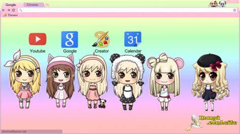 themes beta anime anime chibi girls chrome theme themebeta