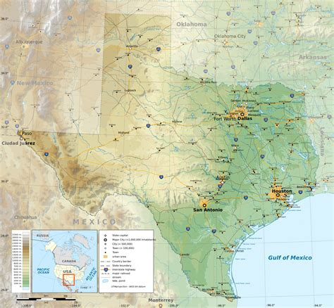 physical map texas texas physical map my