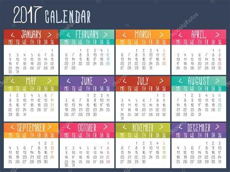 calendar illustrator template calendar template for 2017 calendar grid stock vector