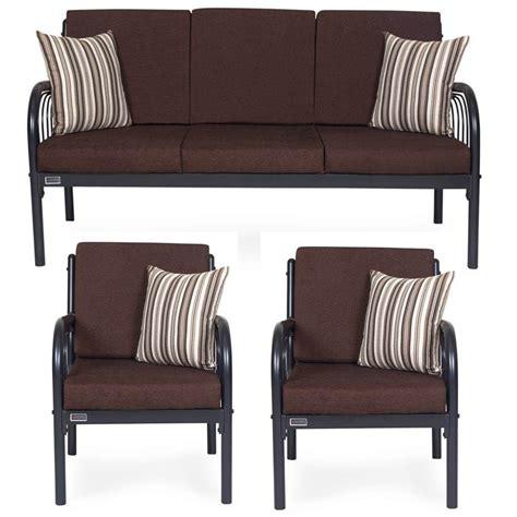 metal sofa set online furniturekraft metal 3 1 1 sofa set brown buy