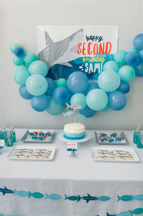 baby shark themed party kara s party ideas quot chomp quot shark themed birthday party