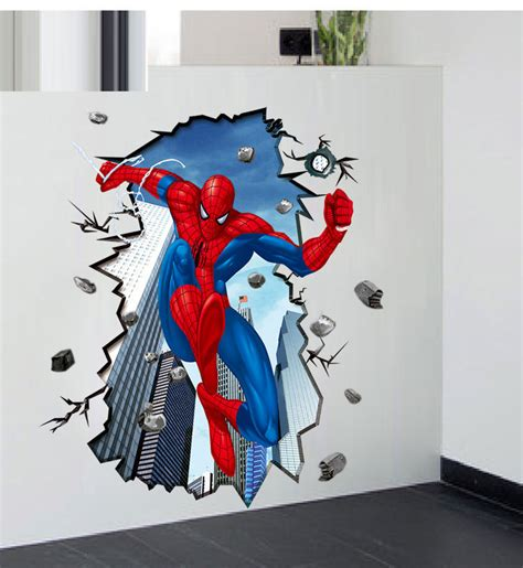spiderman bedroom stickers hot sale 3d spiderman dimensional wall stickers 60 90cm