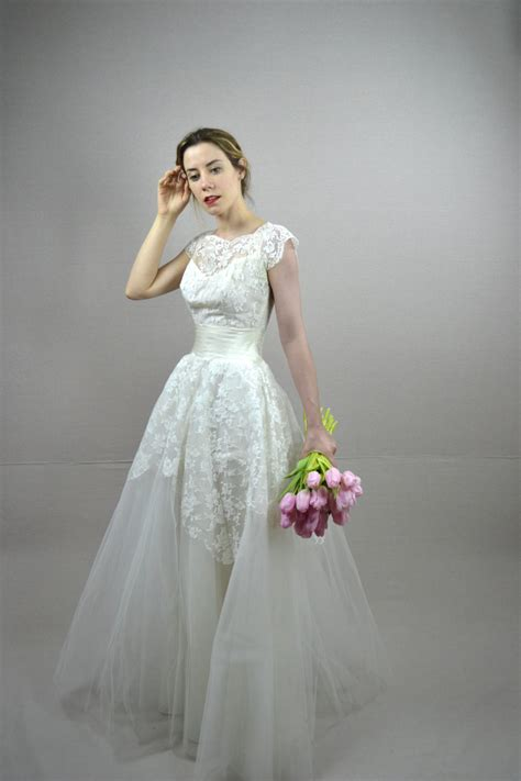Wedding Dresses 50 by 50s Wedding Dress Vintage 1950s Wedding Dress By