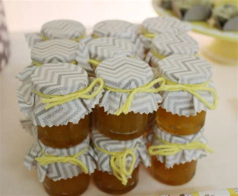 Baby Shower Favors Honey Jars by Yellow Gray Chevron Baby Shower Ideas Elephant Theme