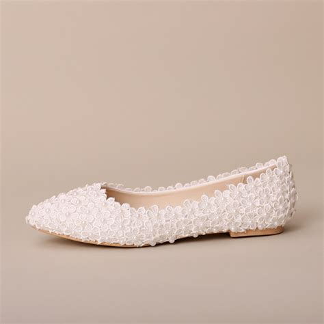 white flats shoes wedding flat white flower wedding shoes shallow pointed toe