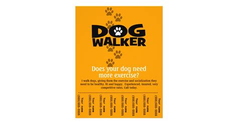 walking flyer template walking business tear sheet flyer template zazzle