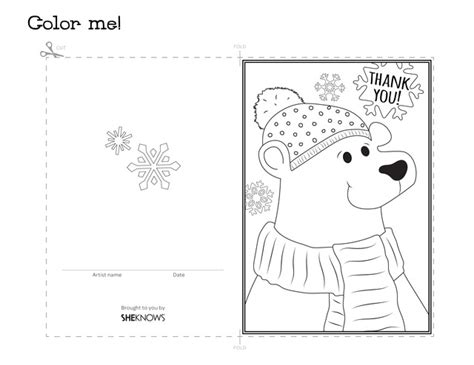 free template coloring thank you cards polar thank you card free printable