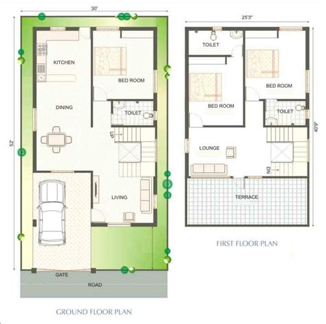 30 40 site duplex house plan homes floor plans
