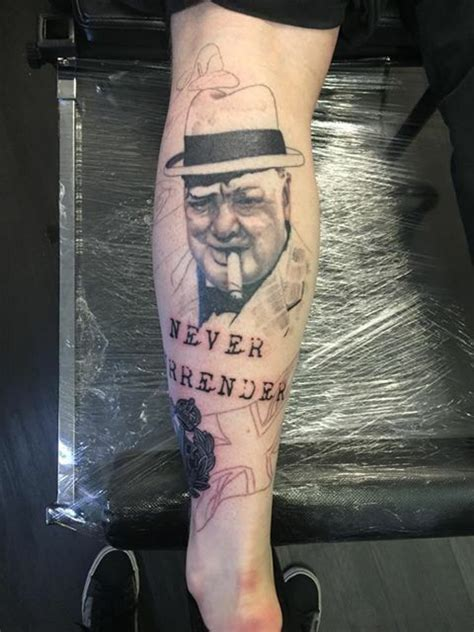 winston churchill tattoo winston churchill ww2 leg by phil sanderson