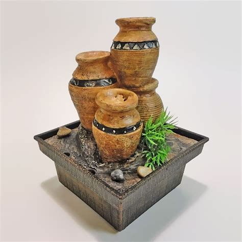 aztec clay pots dual powered mini indoor fountain for home