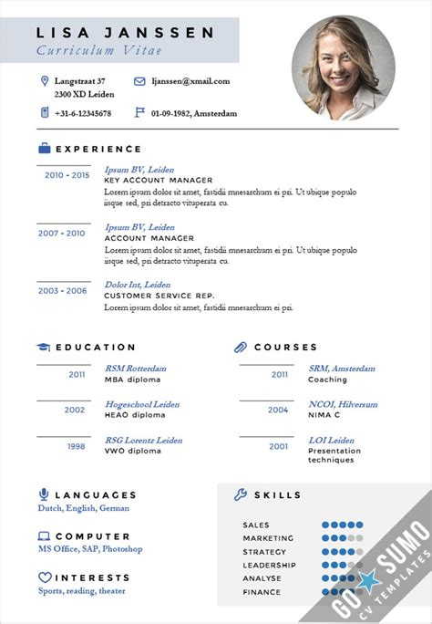 Best Resume Templates Creative by Cv Template Leiden Go Sumo Cv Template
