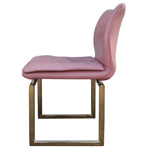 pink dining room chairs fabulous set of six brass and pink leather dining chairs