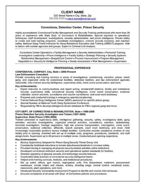 Custody Officer Sle Resume by Corrections Officer Resume Exle Resume Exles And Resume