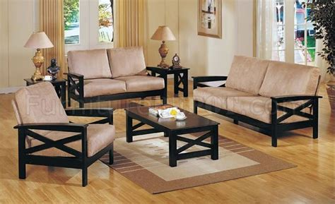wood frame living room furniture beige microfiber contemporary living room with wooden frame