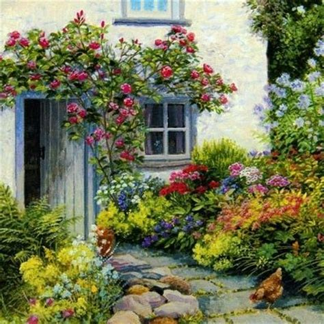 Cottage Garden Paintings by Stephen Darbyshire Chickens