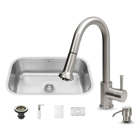All In One Kitchen Sink Vigo All In One Undermount Stainless Steel 30 In Single Basin Kitchen Sink In Stainless Steel