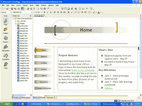 microsoft frontpage templates building a project web site the easy way techrepublic