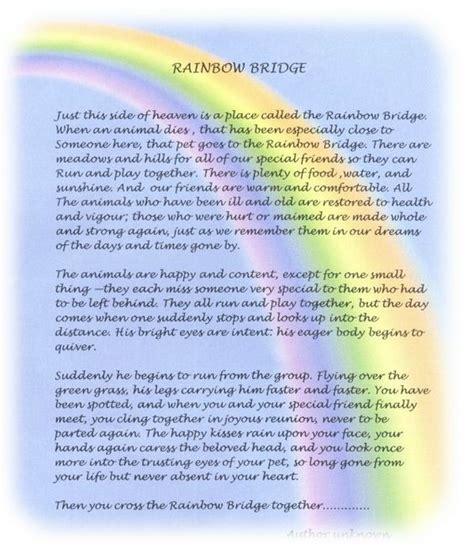 printable version of the rainbow bridge poem rainbow bridge poem print version the rainbow bridge