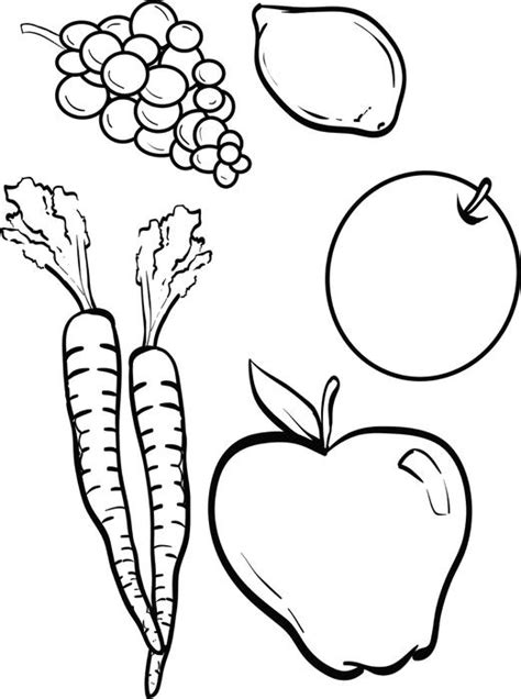 free printable fruits and vegetables coloring page for kids