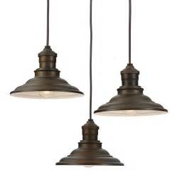Multi Pendant Light Shop Allen Roth Hainsbrook 18 3 In Aged Bronze Rustic Multi Light Cone Pendant At Lowes