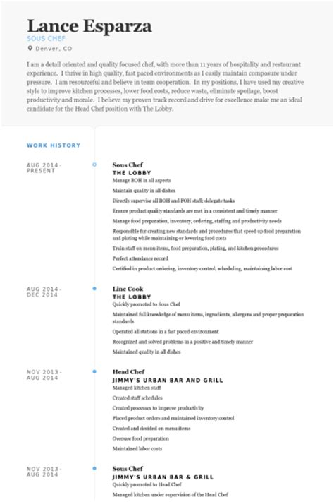 Sous Chef Resume by Sous Chef Resume Sles Visualcv Resume Sles Database