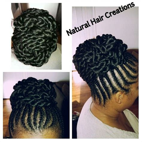 flat twists large bun hair my work