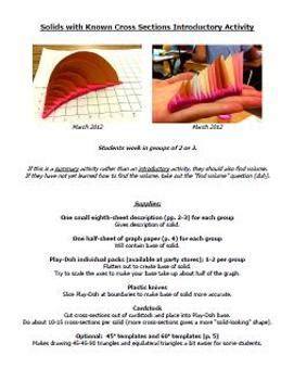 solids with known cross sections volume of solids with known cross sections activity by