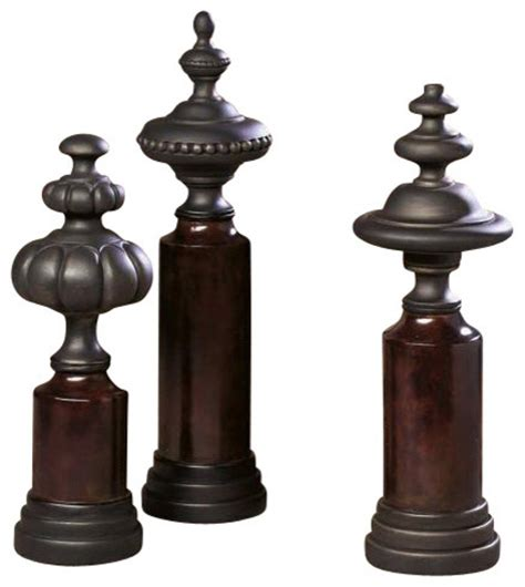 3 pc decorative table top finials contemporary