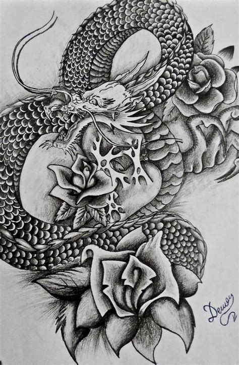 rose dragon tattoo japanese ideas and japanese designs page 4