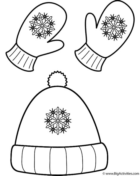 coloring page of winter hat winter hat and mittens coloring page clothing