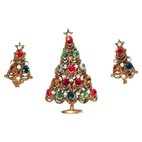 elegant jewelled christmas tree pin and earring set from